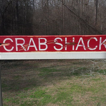 Hand painted wood crab shack Sign, distressed rustic wood sign for man cave or home decor
