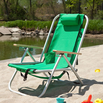 Green Hi-Back Reclining Sling Seat Beach Chair with Adjustable Padded Headrest