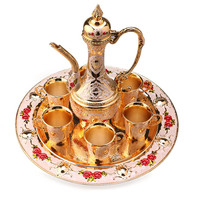 Hot Sale New Traditional Tea Set Retro Vintage Wine Set Cabinet Article Decor, Wine pot+Tray+Wine cup BS