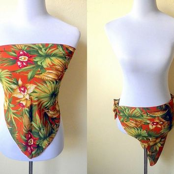 Summer Sale: burnt orange Aloha triangle bandana handkerchief, tropical jungle print scarf or swimsuit cover up