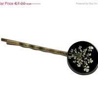 BLACK FRIDAY SALE Real flowers bobby pins, pressed flower hair accessories, queen annes lace hair pins, Vintage style accessories, black an
