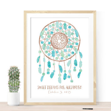 Boho Baby Shower Guest Book with Watercolor Dreamcatcher for Bohemian Baby Shower for Boy or Girl