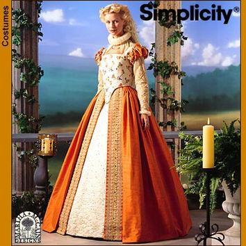Elizabethan Gown Costume, SHAKESPEARE Theater Gown, Costume Sewing Pattern, Simplicity 8881 sizes 6, 8, 10, 12 uncut