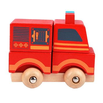 Wooden Mini Fire Truck Vehicle Blocks Toy Disassembly Car Baby Kids Educational Toys Birthday Gifts Toys For Children