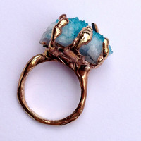 Handmade Blue Geode solid gold alloy ring