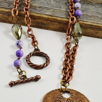 Inspirational necklace, copper chain necklace, word jewelry, Purple bead necklace, crystal necklace, Quote necklace, copper jewelry