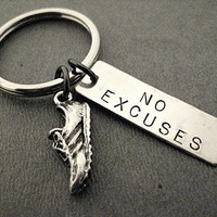 RUN with NO EXCUSES Key Chain / Bag Tag - Running Shoe Charm and Rectangle Nickel Silver Pendant - Stainless Steel Round Key Ring