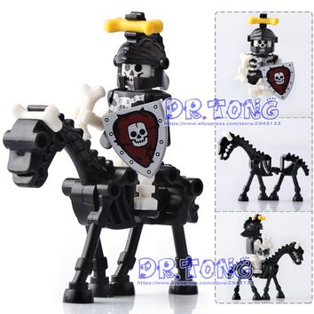 DR.TONG Single Sale The Lord of the Rings Medieval Castle Knights Rome Knights Skeleton Horses Building Bricks Blocks Toys Gifts