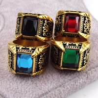 Brand Jewelry Vintage Antique Gold Color Crystal Ring For Men Stainless Steel Big Square Stone Finger Ring Male Men Jewelry