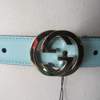 AUTHENTIC GUCCI M 85 LIGHT AQUA BLUE LEATHER GOLD TONE BUCKLE GG BELT MEDIUM