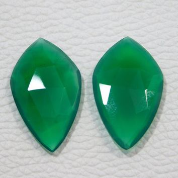 29x17x5 MM Approx ! Natural Green Onyx Faceted Gemstone Loose Onyx Cabochon 17.00 Ct Green Onyx Matched Pair Super Quality Onyx Faceted