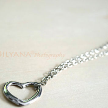 Open Heart Pendant Necklace - Heart Necklace - Silver Jewerly - Silver Necklace - Gift For Her - Mother's Day Gift - Valentines Day Gift
