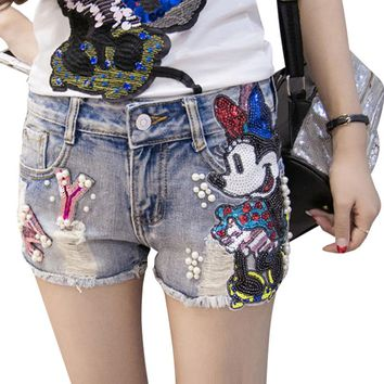 Women Cartoon Pattern Sequins and Pearl Designed Denim Distressed Shorts