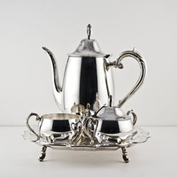 WM Rogers Oneida Tea Silver Service Set, Teapot, Tray, Creamer and Sugar with Lid, Silverplate