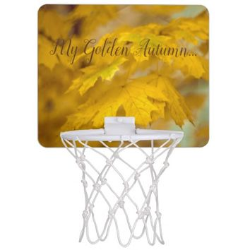 Yellow autumn maple leaves. Add text. Mini Basketball Hoop
