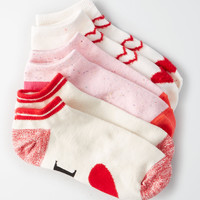 AEO Valentine Shortie Socks 3-Pack, Red