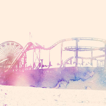 Santa Monica Pier Beach California Art Print Watercolor Los Angeles West Coast Seaside