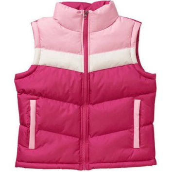 Climate Concepts Girls' Color Blocked Puffer Vest, Fuchsia/White, XS 4/5