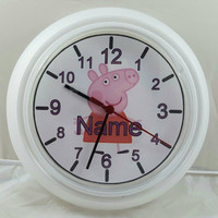 Personalized Wall clock inspired by Peppa pig