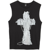 Etching Cross Muscle Tank Black