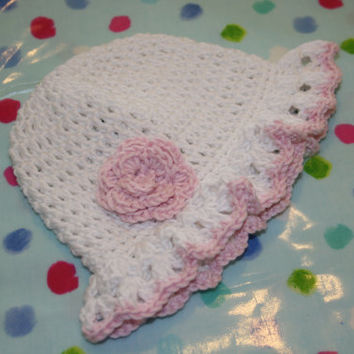 Crochet baby hats summer sun hat crochetyknitsnbits handmade baby girl clothes white pink bamboo shower gift layette New born 0 to 3 months