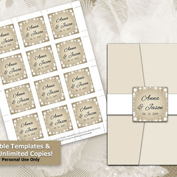 DIY Printable Wedding Seal Tag Template | Editable MS Word file | 2 x 2 | Instant Download | New Years Heaven White Sparkles Champagne Gold