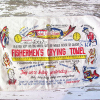 vintage kitchen linen // Fisherman's Crying tea Towel // 1950s