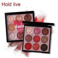 Hold Live 9 Colors Intense Crystal Diamond Cream Eyeshadow Palette Glitter Shimmer Heart Shaped Eye Shadow Makeup Smooth Eyes
