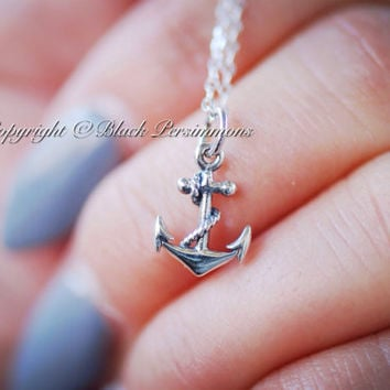 Pirate's Anchor Necklace - Sterling Silver Anchor Nautical Charm - Free Domestic Shipping