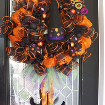 XL Halloween Wreath, Witch Wreath, Halloween decoration, Witch Door Hanger