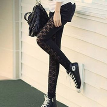 LACE FLORAL LEATHER LEGGINGS