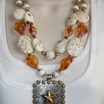 Cowgirl Necklace, Big Gold Silver Star Concho Statement Necklace, Bold Chunky White Magnesite Necklace, Amber Crystal Statement Necklace