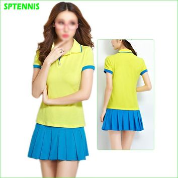 Cotton Tennis Shirt and Skirt Summer Two-piece Sports Dress Badminton Running Outdoor Sportswear S 5XL
