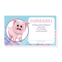 Happy Pig Pink Blue and Purple Plaid Diaper Raffle Cards