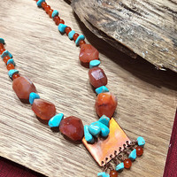 Arizona Sunset Necklace Set, Statement Bead Necklace set, Copper necklace, Beaded Necklace, Semi-Precious Stone Necklace
