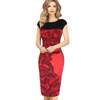 Summer Women Bodycon Dress Pinup Red Sheath Fitted Business Dresses Ladies Casual patchwork dress 63 ~