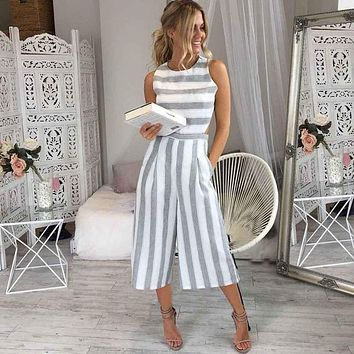 KLV Jumpsuits For Women 2017 Women Sleeveless Striped Jumpsuit Casual Clubwear Wide Leg Pants Outfit Hot Sale