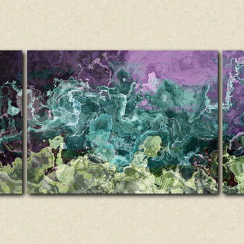 "Contemporary art abstract expressionism triptych canvas print with gallery wrap, 30x60 in purple and aqua, from abstract painting ""Balleto"""