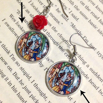 Beauty and the Beast Stained Glass Earrings