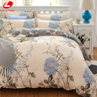 Classic bedding set 5 size grey blue flower bed linens 4pcs/set duvet cover set Pastoral bed sheet AB side duvet cover 2017 bed