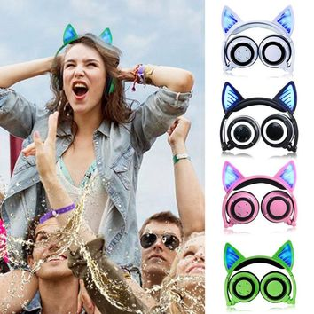 Cat Ear Bluetooth Headphones LED Light Flashing