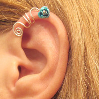 No Piercing Turquoise Wild Flower Ear Cuff for Upper Ear 1 Cuff Wire Color Choices