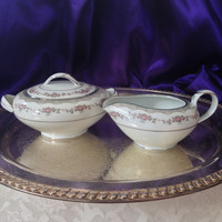 Noritake Glenwood Cream and Sugar Set 5770, Platinum Trim Coupe, Mid Century Modern Collectible China, 1956- 1981, Pink Rose Garland