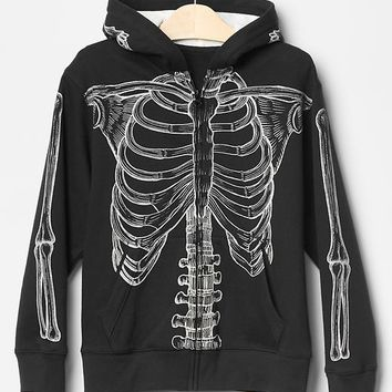 Gap Boys Glow In The Dark Skeleton Hoodie