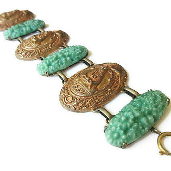 Art Deco Germany Green Glass Bracelet - Molded Glass, Czech Glass, Egyptian Revival, Heron, Crane, Buddha, Gold Brass, German Jewelry