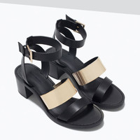 Block heel sandals with metallic detail