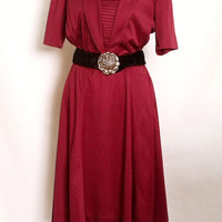 Vintage pleated Burgundy dress retro deep red summer dress polyester 70s dress