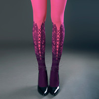Tattoo Tights,  magenta one size Lace Up print full length closed toe printed tights pantyhose, tattoo socks
