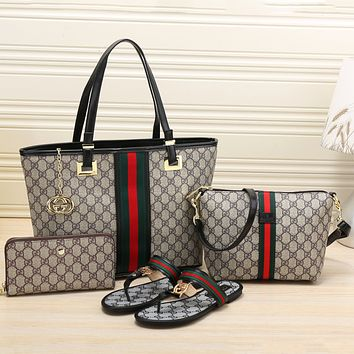 GUCCI 2018 Women's High Quality Exquisite Four-piece Tote/Shoe F-KSPJ-BBDL black