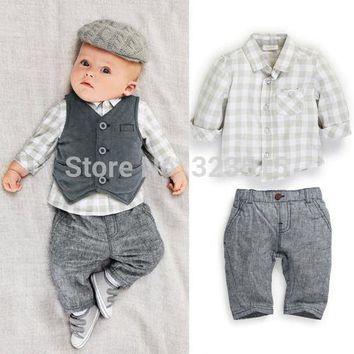 Boys Grey Vest Suit 3 Piece Outfit